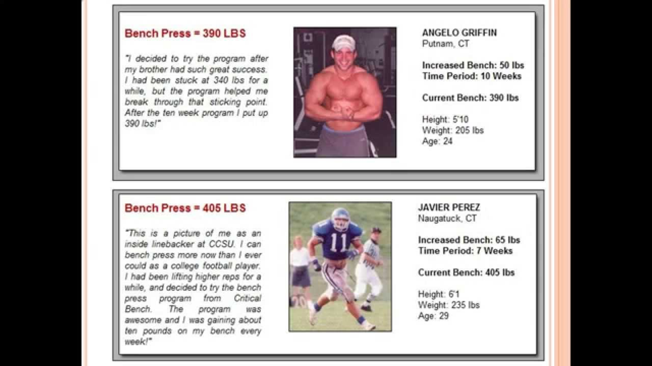 Muscle increase bench press program from critical bench youtube
