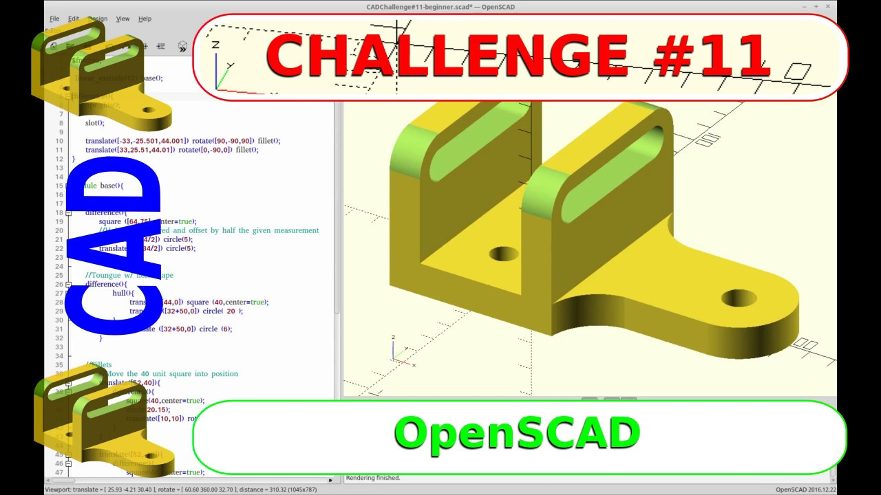 CAD Challenge #11 - OpenSCAD Tutorial Version