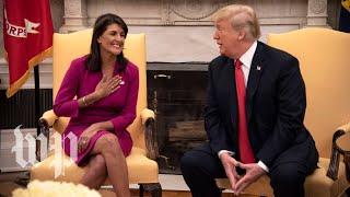 Trump praises Nikki Haley and announces her resignation