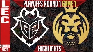G2 vs MAD Highlights Game 1 | LEC Playoffs Summer 2020 Round 1 | G2 Esports vs MAD Lions G1