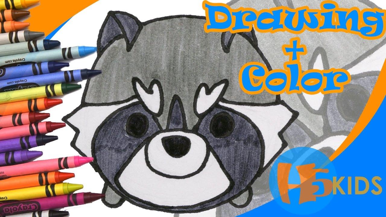 How To Draw Rocket Raccoon Tsum Tsum Easy Kids Drawing Tutorial