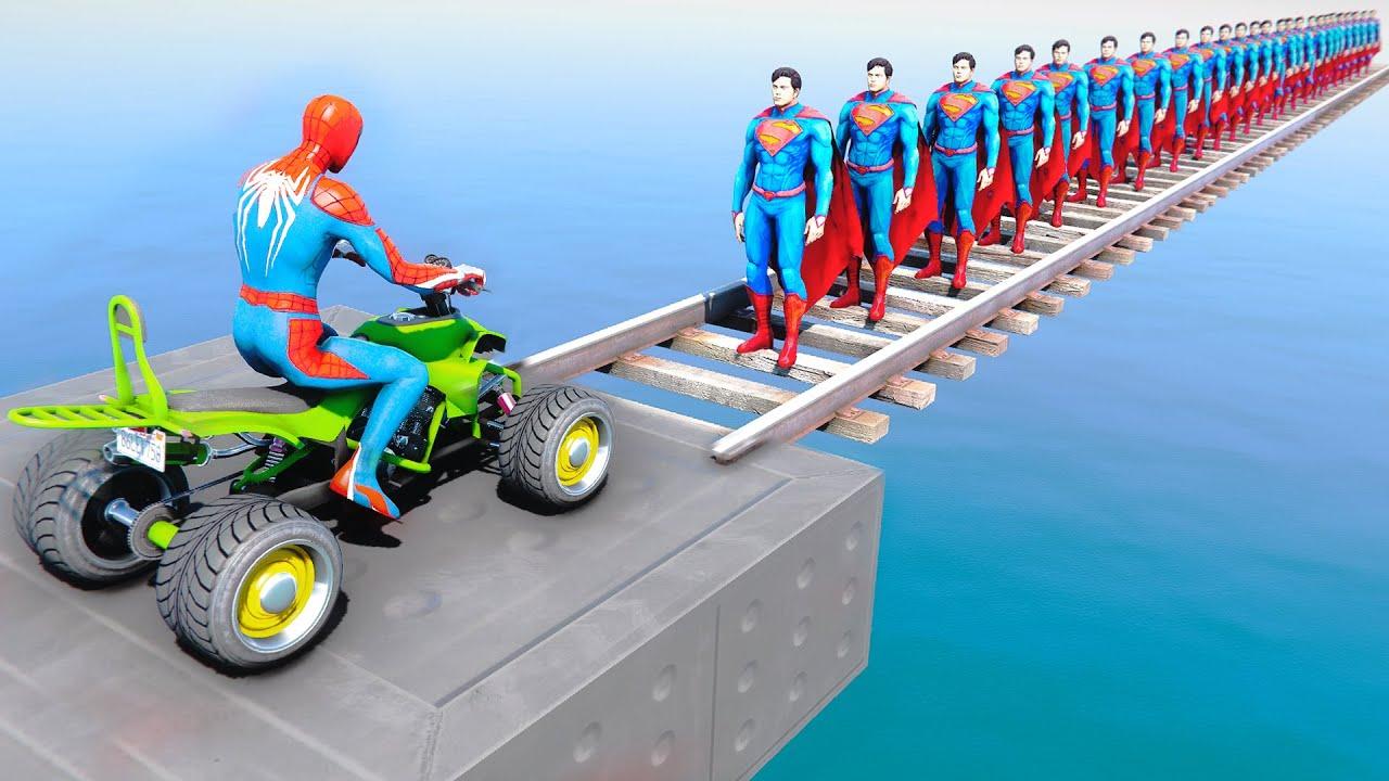 Spider-Man Vs 26 SUPERMAN on Bridge ! Quad Bike Prakour Challenge - GTA 5 MODS