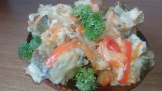 Навага с овощами.Очень аппетитное и нежное блюдо!