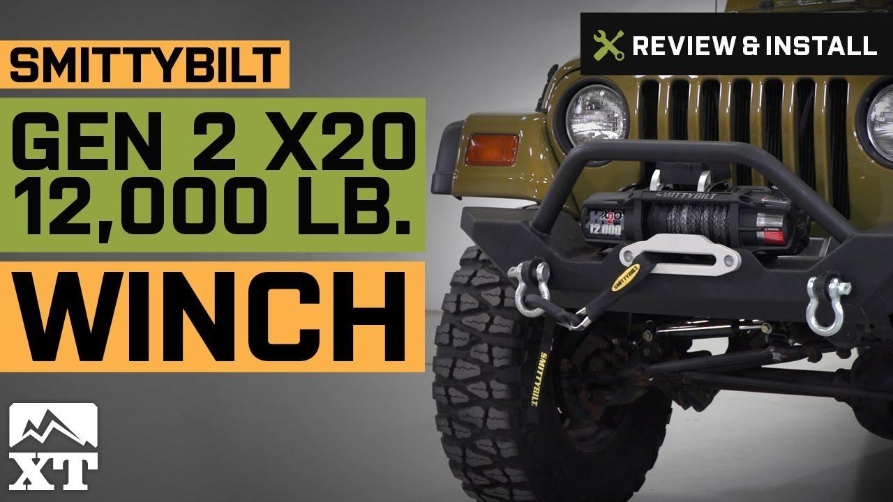 smittybilt jeep wrangler gen2 x2o 12 000 lb winch w synthetic rope wireless control 98512 [ 1280 x 720 Pixel ]