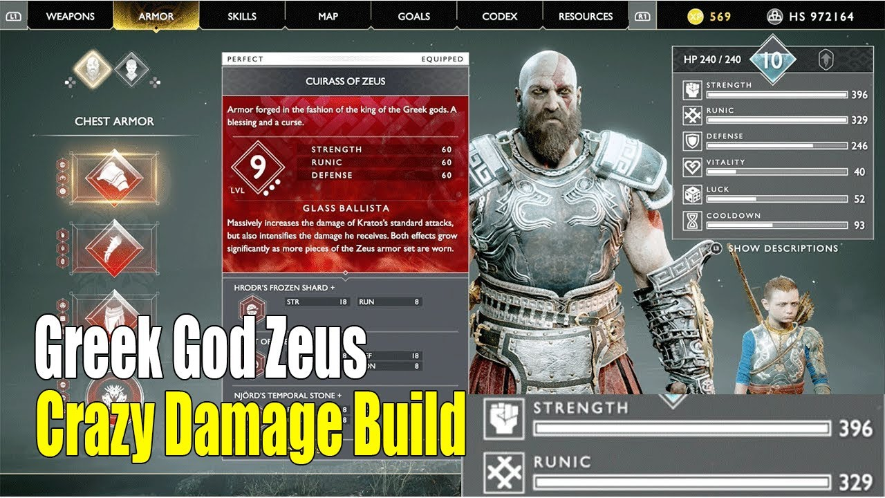 God Of War New Game Plus -Greek God Zeus Armor Upgrade to Max (Level 9)  Best Armor Ever Crazy Damage