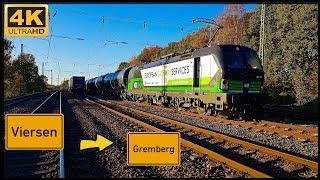 【4K】 Führerstandsmitfahrt Viersen GBF nach Gremberg über Mönchengladbach,Rheydt