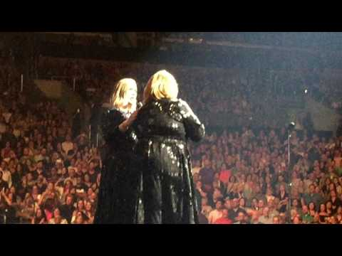 Adele Meets Impersonator Delta Work On 8/6/16 In LA