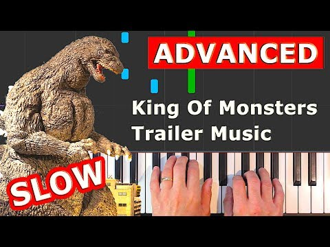 Godzilla: King of the Monsters - Trailer Music - piano tutorial easy SLOW (how to play) thumbnail