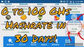 Eobot Cloud Mining - 0 to 100 GHs Hashrate in 30 days!