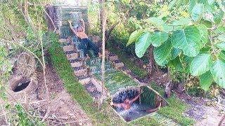 Build Waterfall To Secret Underground Swimming Pool