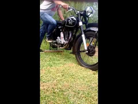 Moto inglesa matchless 500cc g80 año 1847 puesta en marcha
