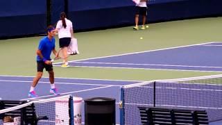 Roger Federer US Open Volley Practice 8/30/2014