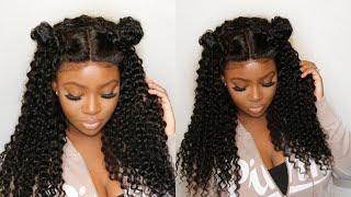 Space Buns And Baby Hair Tutorial | Brazilian Curly Hair | Gem Beauty