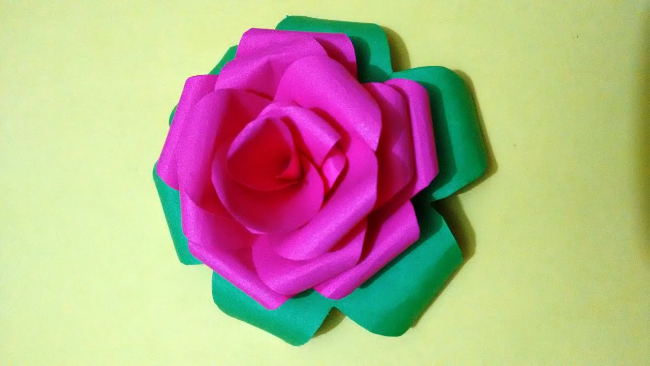How to make Rose flower by colourful paper - paper craft ...