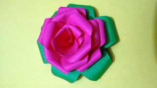 How to make Rose flower by colorful paper - paper craft for home decoration