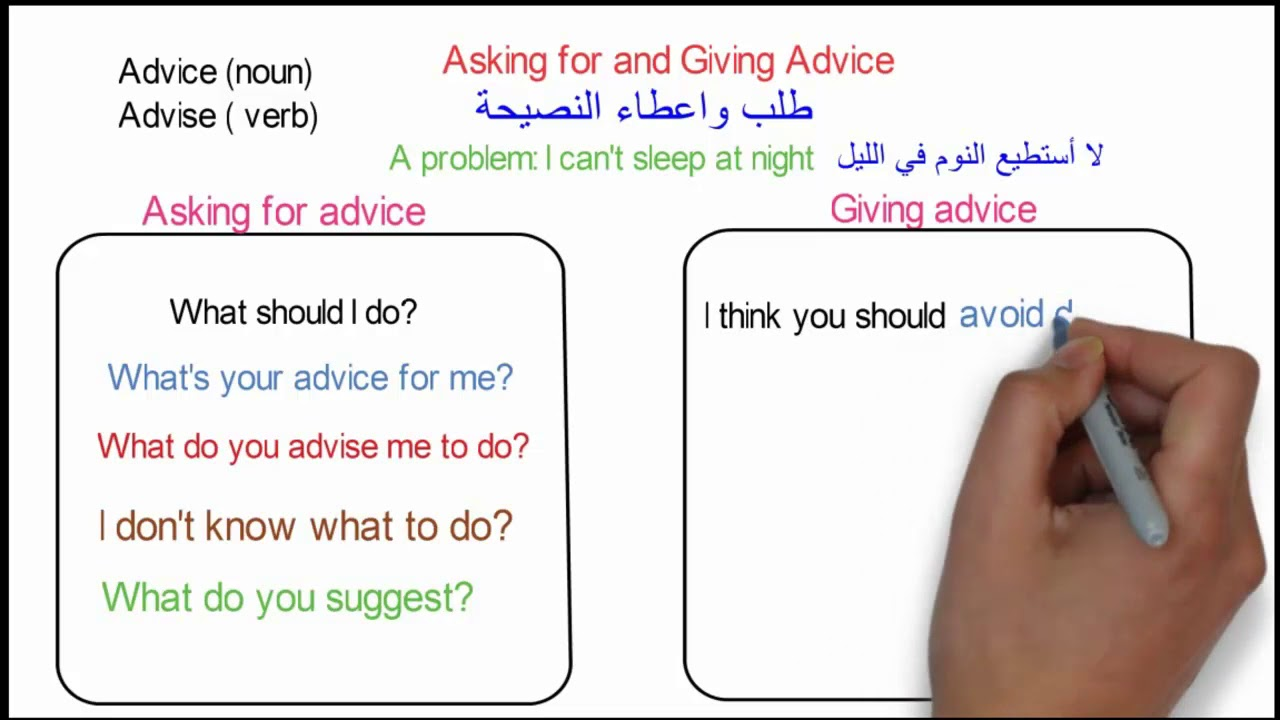 Asking For And Giving Advice تعلم عبارات طلب واعطاء النصيحة Youtube