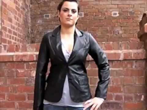 4f5184129c70 Women's 2 Button Black Leather Blazer - Athena - YouTube
