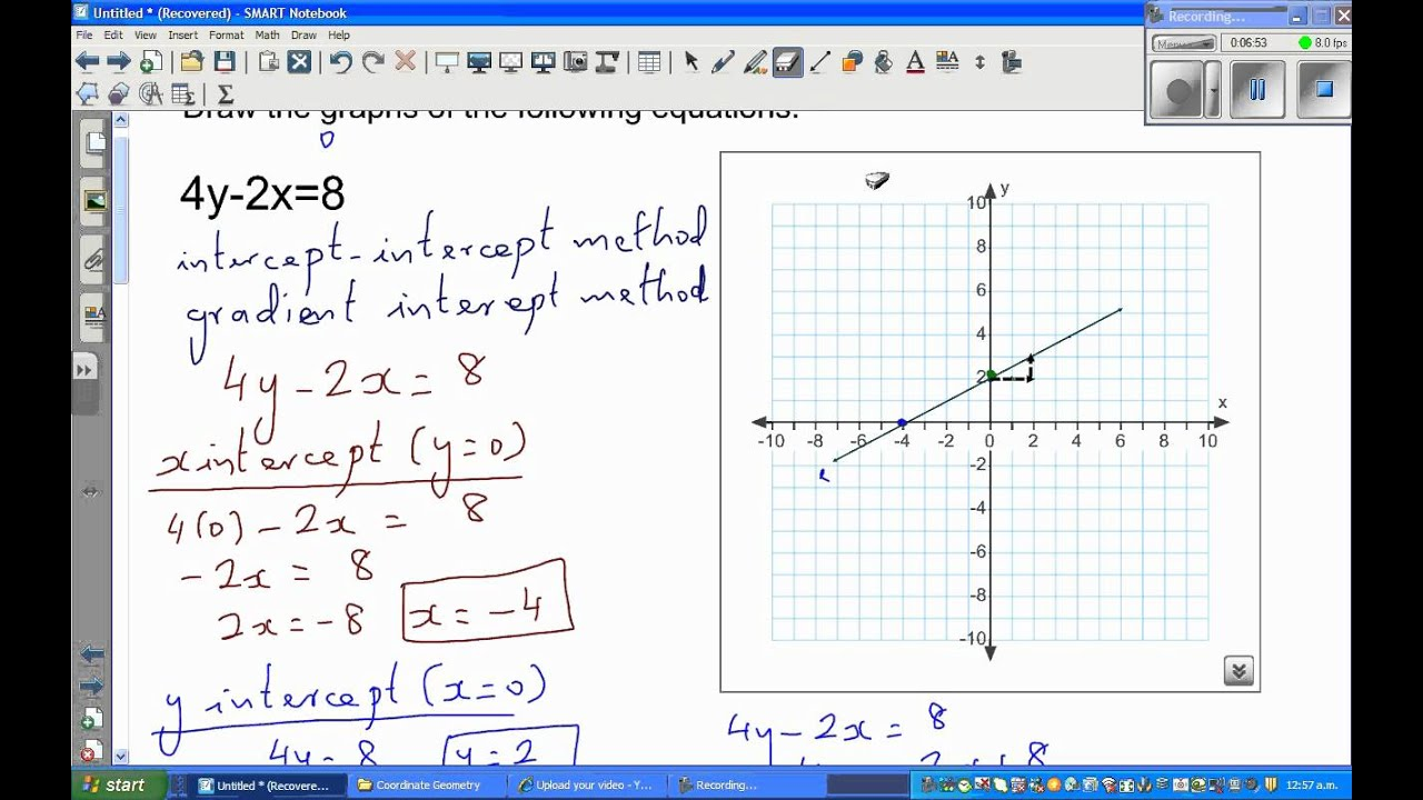 Graphing equation of a line of equations 4y-2x=8 and 2y+3x ...