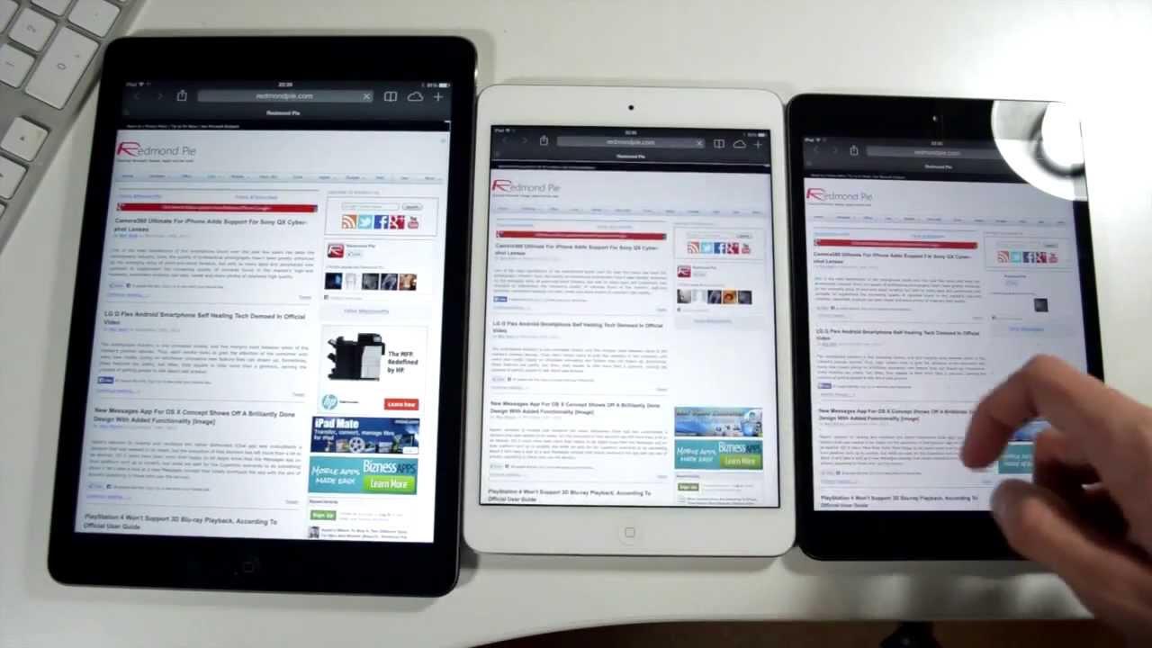 Retina iPad mini 2 Vs iPad Air Vs iPad mini 1 - Size And ...Ipad Mini Retina Size