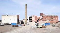 Lielahden vanhan tehtaan voimalaitoksen lisäpurku keväällä 2020