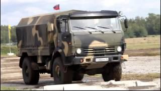 Российские военные грузовики на полигоне.  Новейшее оружие России.