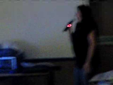Sian singing on Karaoke at wombwell main