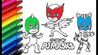 Coloring Pages PJ MASKS How to paint Catboy, Owlet & Geko with Watercolor Markers - Color Toys