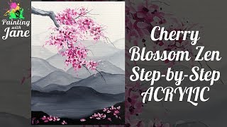 Cherry Blossom Zen - Step by Step Free Acrylic Painting Lesson thumbnail