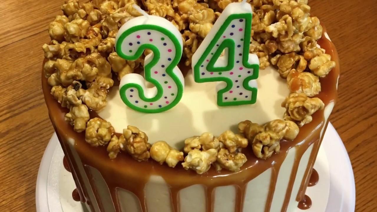 Caramel Corn Birthday Cake Youtube