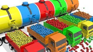 Learn Colors for children with Giant Soccer balls Truck! Colors Nursery rhymes for kids