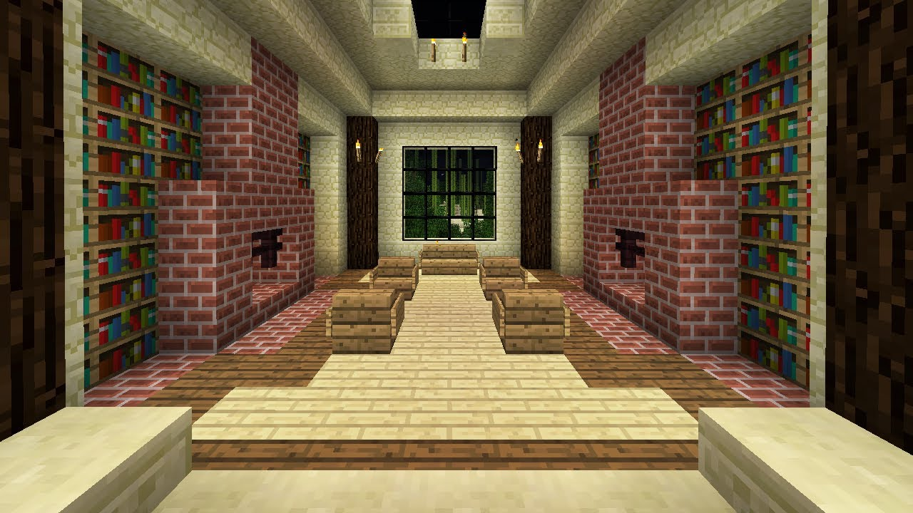Minecraft how to build a library youtube for Room design builder