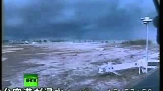 Japan earthquake  CCTV video of tsunami wave hitting Sendai airport Thumbnail