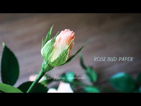Hướng dẫn làm nụ hoa hồng bằng giấy nhún /oaihuong handmade | Foci