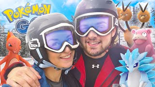 Pokemon GO - LEARNING TO SNOWBOARD w/ Ali + Clare! (+ SECRET PACKAGE)