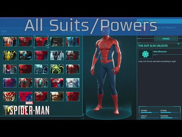 Marvels Spider-Man - All Suits and Suit Powers [HD 1080P]