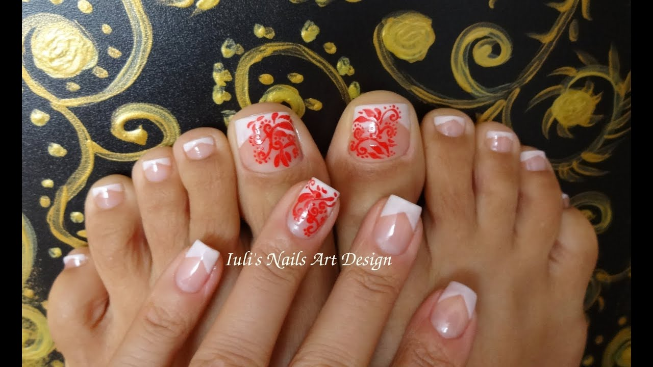 Classic Wedding V French Toes Art Design Touch of Red Abstract - YouTube