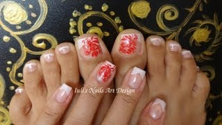 Classic Wedding V French Toes Art Design Touch of Red Abstract