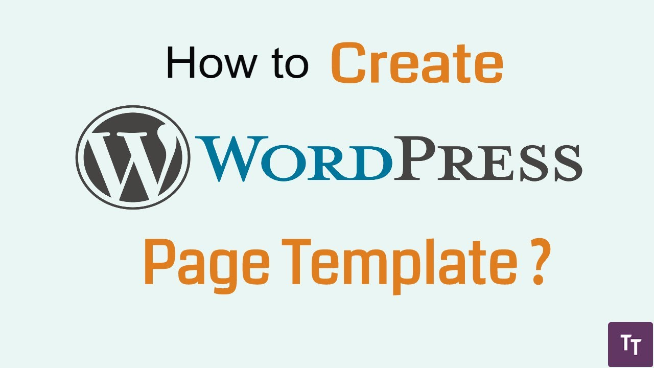 How to create wordpress custom page template - YouTube