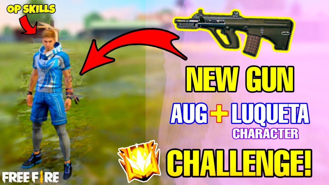 New Gun AUG With Luqueta Character Challenge! 😳🔥- Solo vs Duo Gameplay - Free Fire 2020