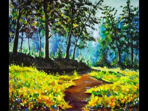 How to paint River in a sunny forest painting on canvas. Time Lapse lessen by artist Valery Rybakow