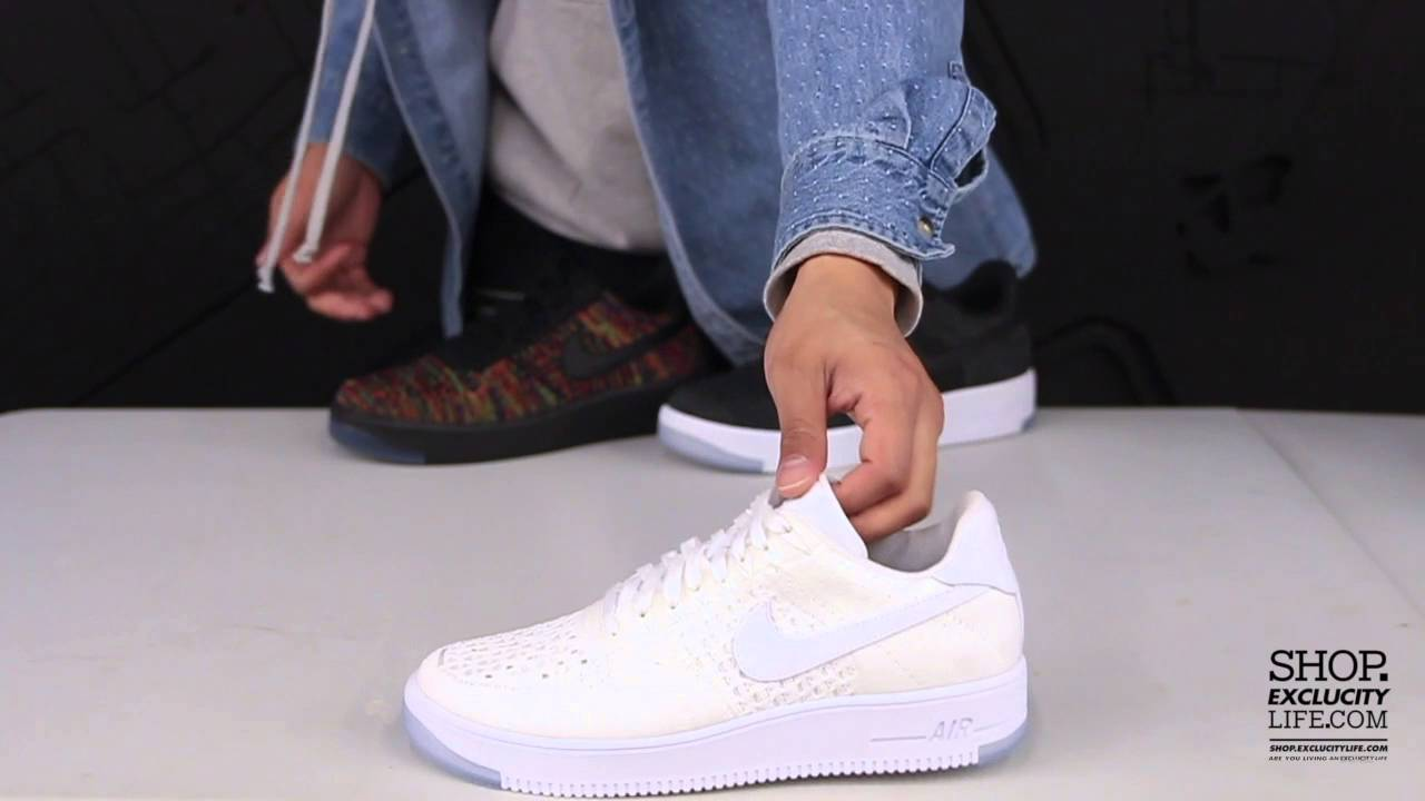 48126b74efc990 Nike Air Force 1 Low Flyknit Ultra Wht - Wht Unboxing Video at Exclucity