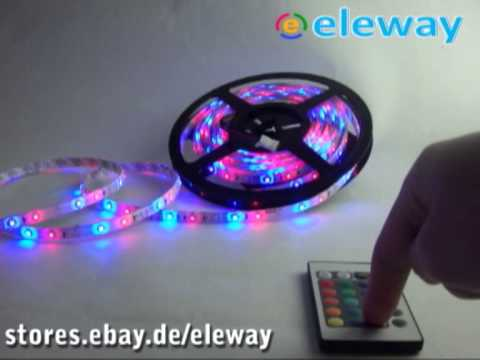 5m rgb led strip leiste streifen 3528 fernbedienung 12v trafo wasserfest ip65 youtube. Black Bedroom Furniture Sets. Home Design Ideas