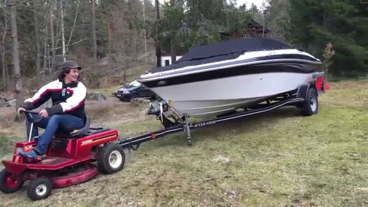 Tractor Pull Boats : Can a lawn mower pull speedboat will this work pulling