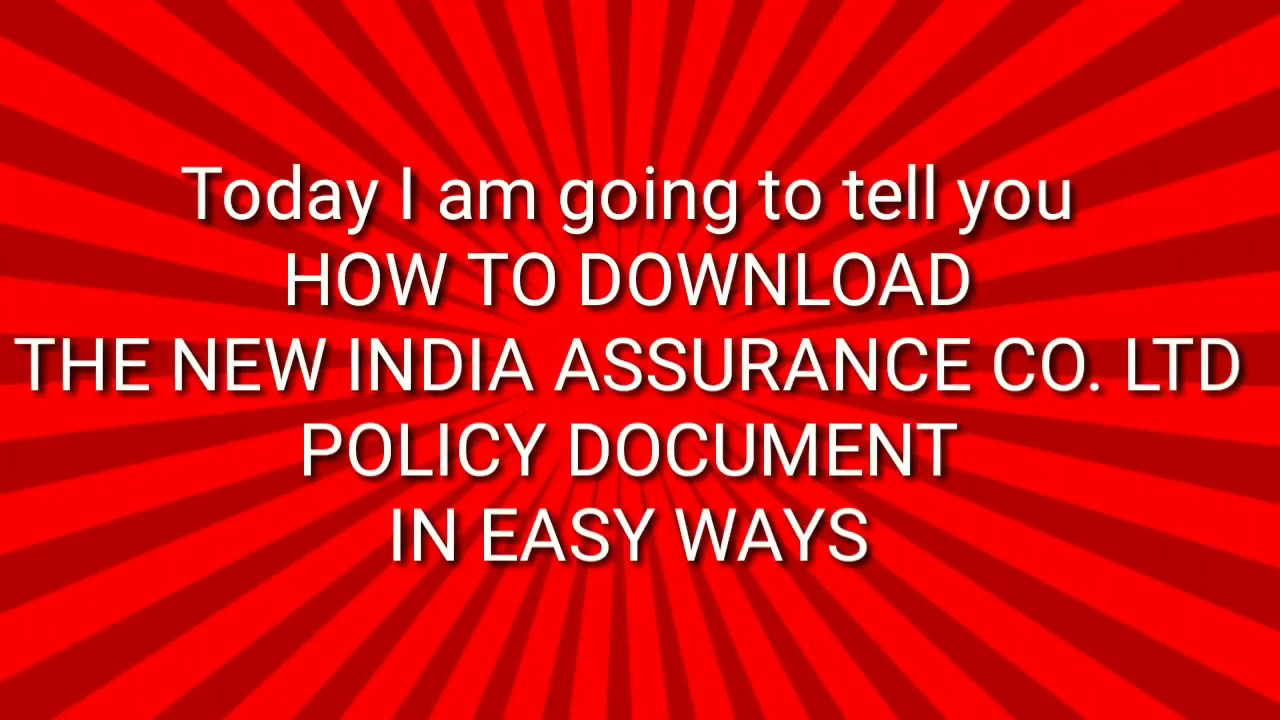 How To Download The New India Assurance Co Ltd Policy On Mobile