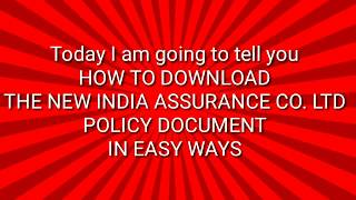 How to Download The New India Assurance Co Ltd Policy on mobile easy way
