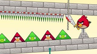 Angry Birds Pigs Out - CUT ROPE TO RESCUE TRIANGLE BIRD AND KICK TRIANGLE PIGS!