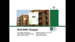 STD110 -Designing with AWC's National Design Specification (NDS ) for Wood Construction (NDS 2015)
