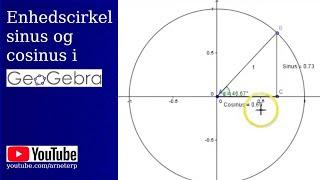 Enhedscirkel med sinus og cosinus i geogebra