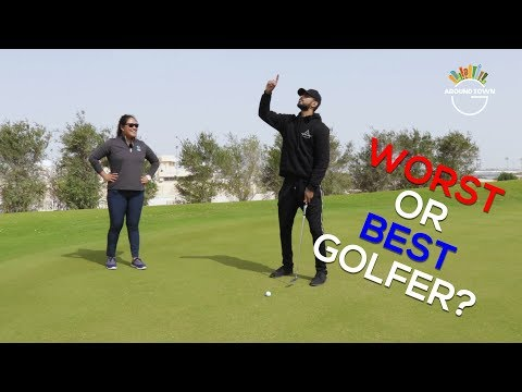 Learning how to play golf in Qatar!