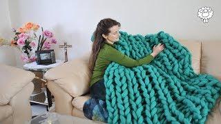DIY Chunky Knit Rib Stitch Blanket